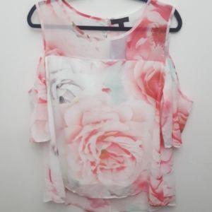 Rose Burg Floral Cold Shoulder Tunic Top
